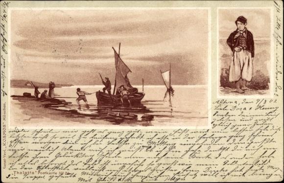 Künstler Ak Fischer ziehen ihr Fischerboot an Land, Seemann