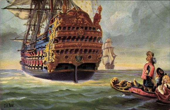 Künstler Ak Rave, Chr., Marine Galerie 25, Franz. Dreidecker, Le royal Louis, 17jh