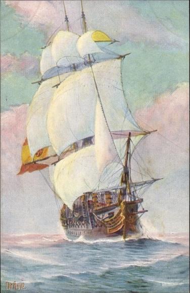 Künstler Ak Rave, Chr., Marine Galerie 233, Spanisches Kriegsschiff, 18jh.
