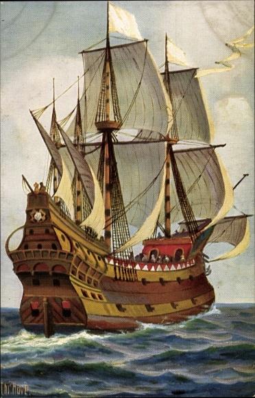 Künstler Ak Rave, Chr., Marine Galerie 151, Holländisches Kriegsschiff, 1670