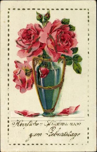 pr ge ak gl ckwunsch geburtstag vase mit blumenstrau rosen nr 1408169 oldthing. Black Bedroom Furniture Sets. Home Design Ideas