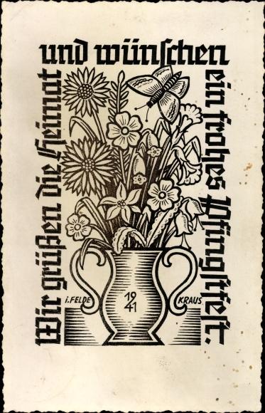Künstler Ak Kraus, Glückwunsch Pfingsten, Blumenvase, Pfingsten 1941