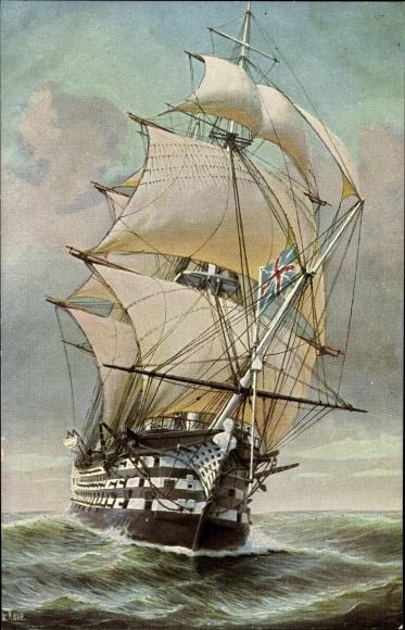 Künstler Ak Rave, Chr., Marine Galerie Nr. 251, Engl. Dreidecker, Flagschiff Admirals Nelson, 1805