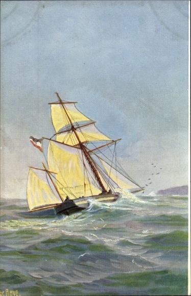 Künstler Ak Rave, Chr., Marine Galerie Nr. 257, Deutsche Sloop, 1840