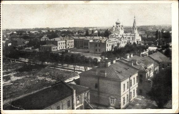 Ak Brest Litowsk Weißrussland, Teilansicht der Stadt, Russ. orthodoxe Kirche