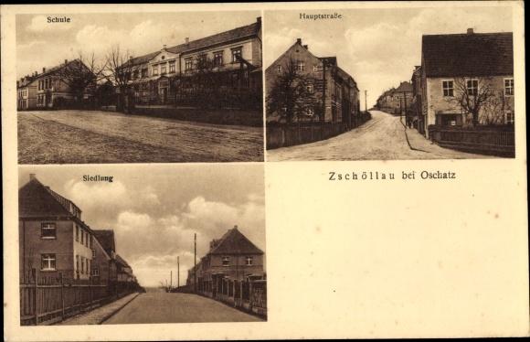 Ak Zschöllau Oschatz in Nordsachsen, Schule, Hauptstraße, Siedlung