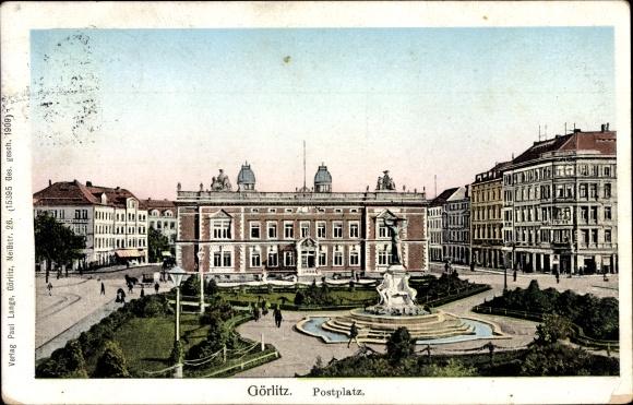Ak Görlitz in der Lausitz, Ansicht vom Postplatz, Brunnen