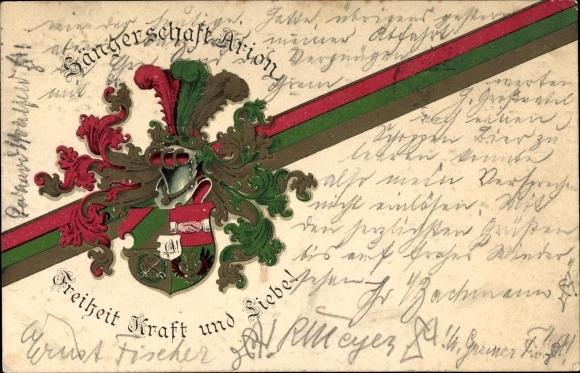 Studentika Ak Leipzig in Sachsen, Sängerschaft Arion, Freiheit Kraft und Liebe, Wappen