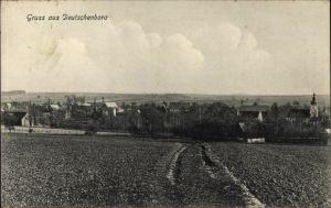 Ak Deutschenbora Nossen Landkreis Meißen, Blick übers Feld auf den Ort, Kirche