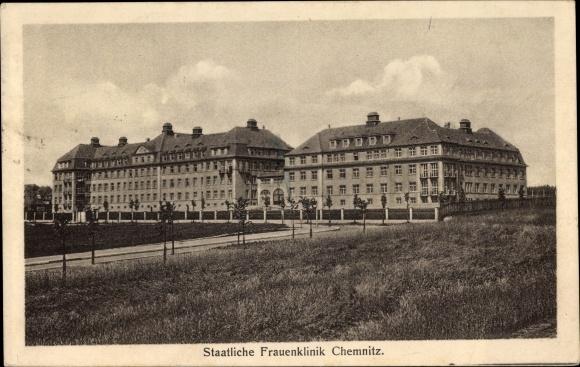 Ak Chemnitz Sachsen, Ansicht der staatlichen Frauenklinik