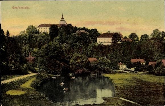 Ak Grabštejn Grafenstein Chotyně Ketten Reg. Reichenberg, Schloss, Teich