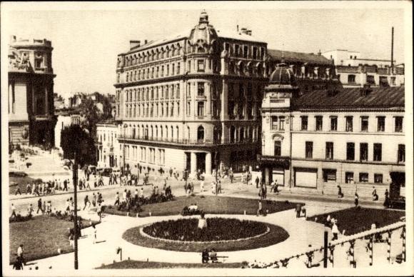 Ak București Bukarest Rumänien, In Centru, Platz, Menschen, Haus