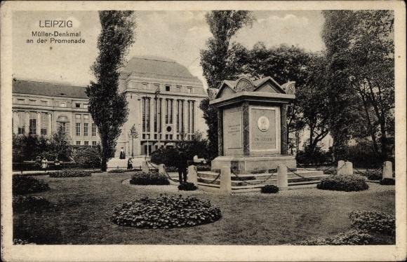 Ak Leipzig in Sachsen, Müller Denkmal an der Promenade, Parkanlage