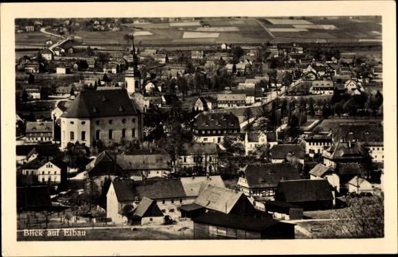 Ak Eibau Kottmar in der Oberlausitz, Blick über den Ort und Ansicht der Kirche