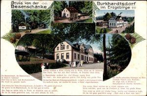Ak Burkhardtsdorf im Erzgebirge, Blick von außen auf die Besenschänke, Hausentwicklung
