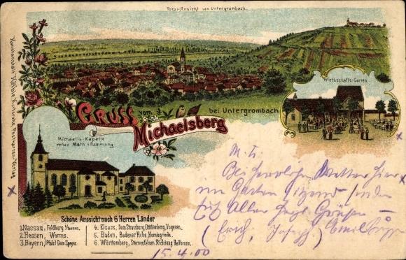 Litho Untergrombach Bruchsal Baden Württemberg, Gruß vom Michaelsberg, Michaelis Kapelle, Wirtschaft