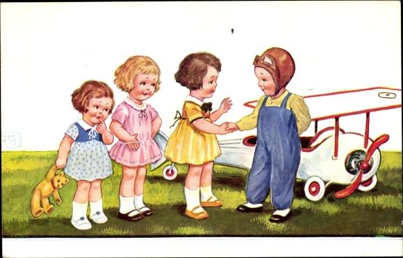 Künstler Ak Wills, John, Pilot vor seinem Flugzeug, Mädchen, Teddybär