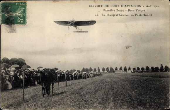 Ak Circuit de l'Est d'Aviation, Août 1910, Première Etape, Paris-Troyes,Champ d'Aviation Pont Hubert