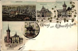 Litho Obernai Oberehnheim Elsass Bas Rhin, Fruchthalle, Rathaus, Kapellenturm, Sechs Eimer Brunnen