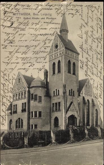 Ak Mittweida in Sachsen, Kath. Kirche und Pfarrhaus