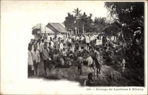 Ak Kongh Laos, Groupe de Laotiens, Eingeborene, Dorf, Dschungel