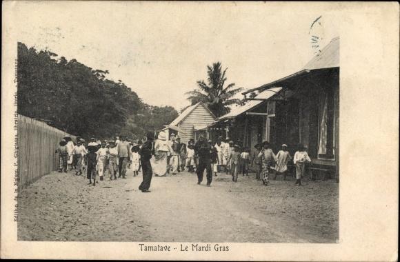 Ak Tamatave Toamasina Madagaskar, Le Mardi Gras, Einheimische beim Festumzug, Masken, Kostüme