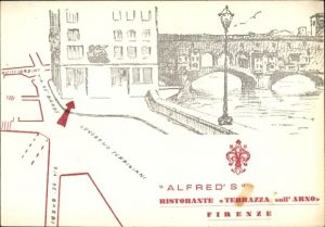Künstler Ak Firenze Florenz Toscana, Alfreds Ristorante Terrazza sull' Arno, Brücke
