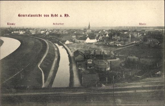 Ak Kehl am Rhein Ortenaukreis Baden Württemberg, Panoramablick Kinzig, Schutter, Rhein, Bahnstrecke