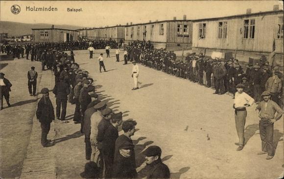 Ak Holzminden im Weserbergland, Balspel, Balspiel, Belgische Kriegsgefangene, I. WK