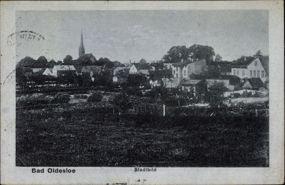 Ak Bad Oldesloe in Schleswig Holstein, Panorama des Stadt, Kirchturm
