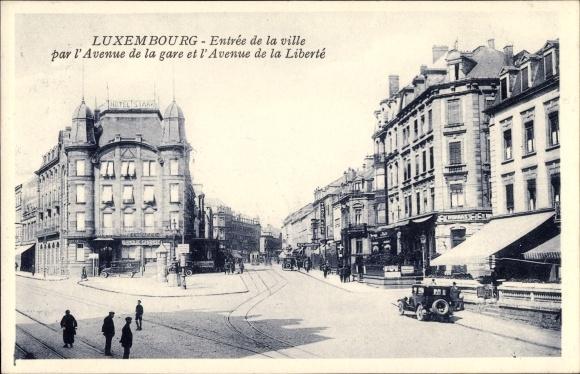 Ak Luxemburg, Entrée de la ville par l'Avenue de la gare et l'avenue de la Liberté