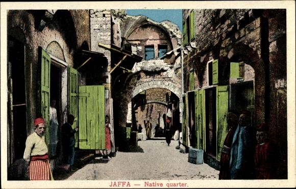 Ak Tel Aviv Jaffa Israel, Native quarter, Häusergasse, Anwohner
