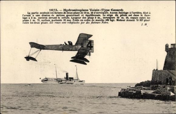 Ak Hydroaéroplane Voisin, Type Canard, Biplan, Wasserflugzeug, Flugpioniere