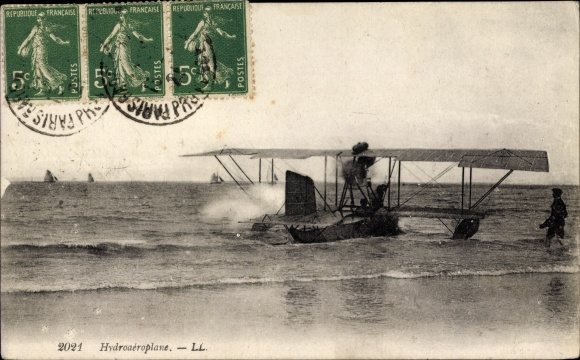 Ak Hydroaeroplane, Wasserflugzeug im Wasser
