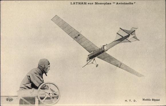 Ak Latham sur Monoplan Antoinette, Flugpioniere