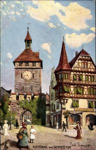 Künstler Ak Thomas, Paul, Konstanz am Bodensee, Passanten am Schnetztor, Tucks No. 684 B