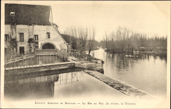 Ak Beauvais Oise, Institut Agricole, La Mie au Roy, La rivière, le Thérain