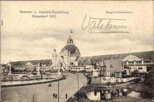 Ak Düsseldorf am Rhein, Blick auf Haupt Industriehalle, Gewerbe- und Industrie Ausstellung 1902