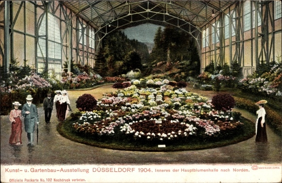 Gartenbau Düsseldorf ak düsseldorf am rhein innenansicht der hauptblumenhalle kunst