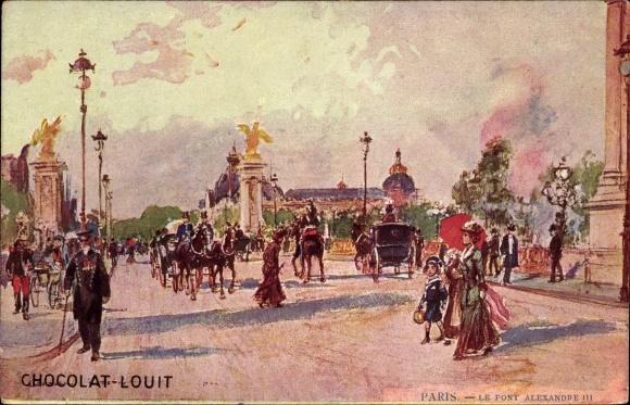 Künstler Ak Stein, Georges, Paris, Le Pont Alexandre III, Kutschen, Passanten