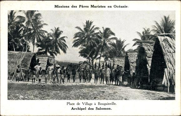 Ak Salomon-Inseln, Archipel des Salomon, Place de Village à Bougainville, Missions Maristes