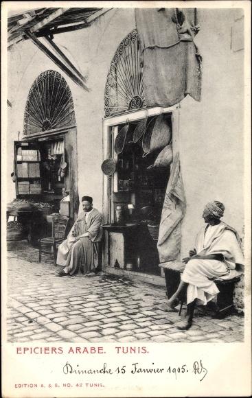 Ak Tunis Tunesien, Epiciers Arabe, Händler vor ihren Geschäften