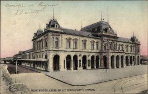 Ak Montevideo Uruguay, Estacion del Ferro Carril Central, Zentralbahnhof