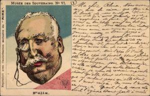 Künstler Ak Félix Faure, Französischer Staatspräsident, Portrait, Monokel, Karikatur
