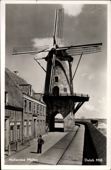 Ak Blick auf eine holländische Windmühle, Hollandse Molen