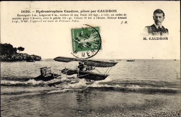 Ak Hydroaéroplane Caudron, piloté par Caudron, Wasserflugzeug, Pilot, Flugpionier