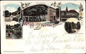 Litho Steinau in Niedersachsen, Peters Gasthof, Kirche, Ansicht aus Strunks Sommergarten, Straße