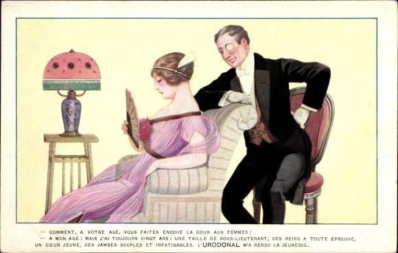Künstler Ak Reklame für Urodonal, Mann im Smoking mit Monokel, Frau auf einem Sessel, Fächer