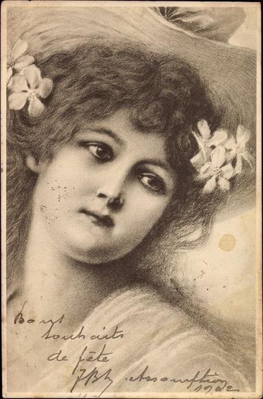 Künstler Ak Portrait einer jungen Frau, Blumen im Haar, Munk