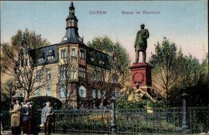 Ak Düren in Nordrhein Westfalen, Stautue de Bismarck, Bismarck Denkmal